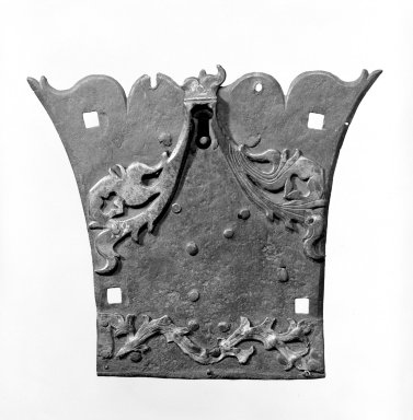 <em>Lock</em>, early 18th century. Iron, 7 1/2 x 6 in. (19.1 x 15.2 cm). Brooklyn Museum, The C. Helme and Alice B. Strater Collection, Gift of C. Helme Strater, Jr., John B. Strater, and Margaret S. Robinson, 76.34.23. Creative Commons-BY (Photo: Brooklyn Museum, 76.34.23_bw.jpg)