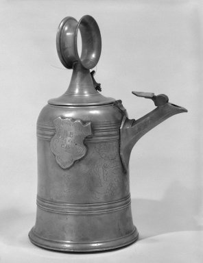 <em>Ewer and Lid</em>, 18th century (possibly). Pewter, 16 x 8 in. (40.6 x 20.3 cm). Brooklyn Museum, The C. Helme and Alice B. Strater Collection, Gift of C. Helme Strater, Jr., John B. Strater, and Margaret S. Robinson, 76.34.24a-b. Creative Commons-BY (Photo: Brooklyn Museum, 76.34.24a-b_bw.jpg)