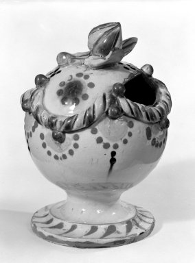 <em>Bank</em>, early 19th century. Earthenware, 5 3/4 x 3 3/8 in. (14.6 x 8.6 cm). Brooklyn Museum, The C. Helme and Alice B. Strater Collection, Gift of C. Helme Strater, Jr., John B. Strater, and Margaret S. Robinson, 76.34.2. Creative Commons-BY (Photo: Brooklyn Museum, 76.34.2_bw.jpg)