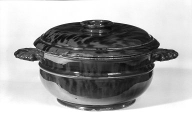 <em>Bowl with Cover</em>, 19th century. Earthenware, 3 3/4 x 8 x 10 3/4 in. (9.5 x 20.3 x 27.3 cm). Brooklyn Museum, The C. Helme and Alice B. Strater Collection, Gift of C. Helme Strater, Jr., John B. Strater, and Margaret S. Robinson, 76.34.3a-b. Creative Commons-BY (Photo: Brooklyn Museum, 76.34.3a-b_bw.jpg)