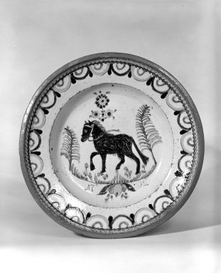 <em>Dish</em>, dated 1792. Earthenware, 12 in. (30.5 cm). Brooklyn Museum, The C. Helme and Alice B. Strater Collection, Gift of C. Helme Strater, Jr., John B. Strater, and Margaret S. Robinson, 76.34.5. Creative Commons-BY (Photo: Brooklyn Museum, 76.34.5_bw.jpg)