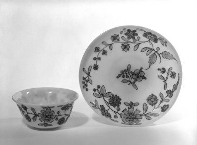 <em>Cup and Saucer</em>, 18th century (possibly). Glass, 5 1/16 x 3 3/8 in. (12.9 x 8.6 cm). Brooklyn Museum, The C. Helme and Alice B. Strater Collection, Gift of C. Helme Strater, Jr., John B. Strater, and Margaret S. Robinson, 76.34.8a-b. Creative Commons-BY (Photo: Brooklyn Museum, 76.34.8a-b_bw.jpg)