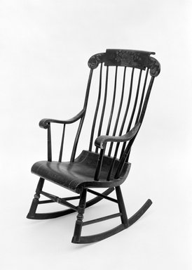 Hitchcock and Alford & Company. <em>Rocking Chair</em>, ca. 1832-1843. Wood, paint, 61 x 19 5/8 in. (154.9 x 49.8 cm). Brooklyn Museum, H. Randolph Lever Fund, 76.35. Creative Commons-BY (Photo: Brooklyn Museum, 76.35_view3_acetate_bw.jpg)
