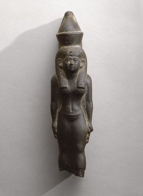 <em>The Goddess Mut</em>, ca. 664-525 B.C.E. Schist, 6 3/8 x 1 1/2 x 1 7/8 in. (16.2 x 3.8 x 4.8 cm). Brooklyn Museum, Charles Edwin Wilbour Fund, 76.38. Creative Commons-BY (Photo: Brooklyn Museum, 76.38_view1_SL1.jpg)