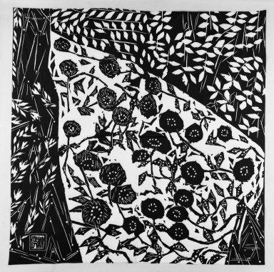 <em>Man's Furoshiki (Carrying Cloth)</em>, ca. 1960. Cotton, 69 x 69 in. (175.3 x 175.3 cm). Brooklyn Museum, Gift of Sidney B. Cardozo, Jr., 76.42.4. Creative Commons-BY (Photo: Brooklyn Museum, 76.42.4_bw.jpg)
