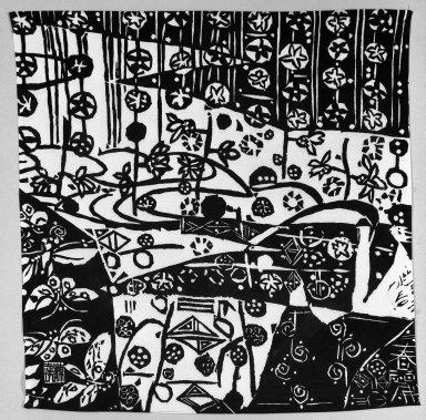 <em>Lady's Furoshiki (Carrying Cloth)</em>, ca. 1960. Silk cloth, 29 x 28 in. (73.7 x 71.1 cm). Brooklyn Museum, Gift of Sidney B. Cardozo, Jr., 76.42.5. Creative Commons-BY (Photo: Brooklyn Museum, 76.42.5_bw.jpg)