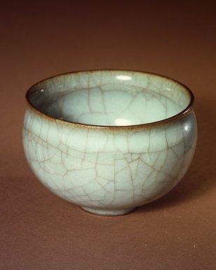 Miura Koheiji (Japanese, 1933-2006). <em>Kuan Ware Celadon Rice-wine Cup</em>, ca. 1975. Kan (Guan) ware with light blue celadon glaze, 1 7/8 x 2 7/8 in. (4.8 x 7.3 cm). Brooklyn Museum, Gift of Sidney B. Cardozo, Jr., 76.42.7. Creative Commons-BY (Photo: Brooklyn Museum, 76.42.7.jpg)