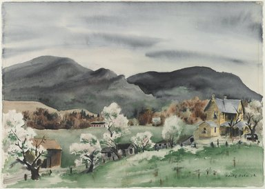 Adolf Arthur Dehn (American, 1895-1968). <em>Landscape with Farm Buildings</em>, 1938. Watercolor with graphite underdrawing on off-white, thick, smooth-textured wove paper, Sheet: 16 x 22 3/8 in. (40.6 x 56.8 cm). Brooklyn Museum, Gift of Leon Pomerance, 76.52.1. © artist or artist's estate (Photo: Brooklyn Museum, 76.52.1_PS2.jpg)