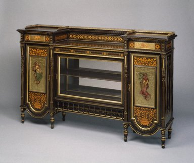 Herter Brothers (American, 1865-1905). <em>Cabinet</em>, ca. 1872. Ebonized cherry, other woods, glass, brass, pigment, 42 3/8 x 66 x 16 3/4in. (107.6 x 167.6 x 42.5cm). Brooklyn Museum, H. Randolph Lever Fund, 76.63a-f. Creative Commons-BY (Photo: Brooklyn Museum, 76.63a-f_SL1.jpg)