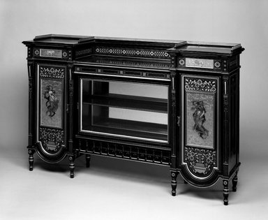 Herter Brothers (American, 1865-1905). <em>Cabinet</em>, ca. 1872. Ebonized cherry, other woods, glass, brass, pigment, 42 3/8 x 66 x 16 3/4in. (107.6 x 167.6 x 42.5cm). Brooklyn Museum, H. Randolph Lever Fund, 76.63a-f. Creative Commons-BY (Photo: Brooklyn Museum, 76.63a-f_threequarter_bw_IMLS.jpg)