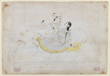 <em>A Prince, Perhaps Raja Pratap Singh of Jaipur, with his Beloved</em>, ca. 1800. Ink and color with gold on paper, 6 x 8 11/16 in. (17.5 x 10.4 cm). Brooklyn Museum, Gift of Jack Aron, 76.65 (Photo: Brooklyn Museum, 76.65_IMLS_PS3.jpg)