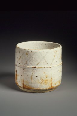 Kitaoji Rosanjin (Japanese, 1883-1959). <em>Cylindrical Vessel</em>, ca. 1955. Stoneware, E-Shino ware, 3 3/4 x 4 1/8 in. (9.5 x 10.5 cm). Brooklyn Museum, Gift of Dr. Hugo Munsterberg, 76.68. Creative Commons-BY (Photo: Brooklyn Museum, 76.68.jpg)