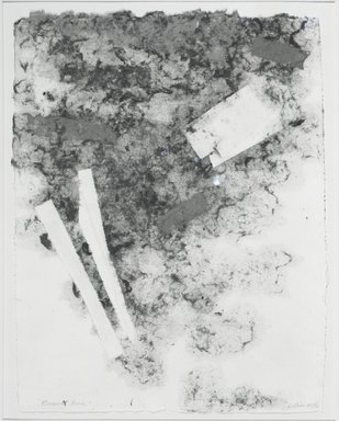 "Clinton Hill (American, 1922-2003). <em>Bassett Road</em>, 1976. Handmade paper drawing (The color is dyes cotton pulp - the work is completely made in the process of paper making - no additive marks or color added to the surface"" Brooklyn Museum, Gift of the artist, 76.70. © artist or artist's estate (Photo: Brooklyn Museum, 76.70_bw.jpg)"