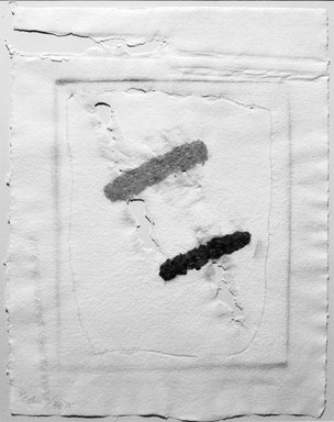 Clinton Hill (American, 1922-2003). <em>21</em>, 1975. Hand-made paper print with fiberglass, 23 x 17 1/2 in. (58.4 x 44.5 cm). Brooklyn Museum, Gift of the artist, 76.76.2. © artist or artist's estate (Photo: Brooklyn Museum, 76.76.2_cropped_bw.jpg)