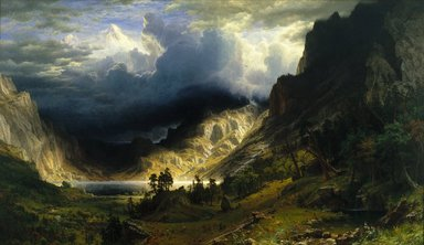 Albert Bierstadt (American, born Germany, 1830-1902). <em>A Storm in the Rocky Mountains, Mt. Rosalie</em>, 1866. Oil on canvas, frame: 98 5/8 x 158 1/8 x 7 1/4 in., 286 lb. (250.5 x 401.6 x 18.4 cm, 129.73kg). Brooklyn Museum, Dick S. Ramsay Fund, Healy Purchase Fund B, Frank L. Babbott Fund, A. Augustus Healy Fund, Ella C. Woodward Memorial Fund, Carll H. de Silver Fund, Charles Stewart Smith Memorial Fund, Caroline A.L. Pratt Fund, Frederick Loeser Fund, Augustus Graham School of Design Fund, Museum Collection Fund, Special Subscription, and John B. Woodward Memorial Fund; Purchased with funds given by Daniel M. Kelly and Charles Simon; Bequest of Mrs. William T. Brewster, Gift of Mrs. W. Woodward Phelps in memory of her mother and father, Ella M. and John C. Southwick, Gift of Seymour Barnard, Bequest of Laura L. Barnes, Gift of J.A.H. Bell, and Bequest of Mark Finley, by exchange