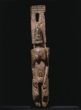 Dogon. <em>Standing Figure with Arms Raised, Djennenke Style</em>, 14th-19th century (possibly). Wood, 36 3/4 x 6 1/2 x 5 1/2 in. (93.3 x 16.5 x 14.0 cm). Brooklyn Museum, Gift of Rosemary and George Lois, 76.80. Creative Commons-BY (Photo: Brooklyn Museum, 76.80_front_SL1.jpg)