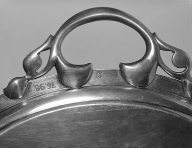 QI. <em>Tray with Guthrie Coat of Arms</em>, late 18th century (possibly). Silver, wool, cotton, rayon, 1 1/2 x 29 1/4 x 19 1/8 in. (3.8 x 74.3 x 48.6 cm). Brooklyn Museum, Gift of Elsie Stevenson Magie, 76.98. Creative Commons-BY (Photo: Brooklyn Museum, 76.98_mark_bw.jpg)