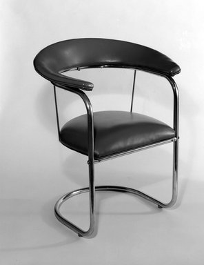 Russel Wright (American, 1904-1976). <em>Armchair</em>, ca. 1934. Chromium, plastic (Naugahyde), 76.99.1: 32 x 27 x 18 1/2 in. (81.3 x 68.6 x 47 cm). Brooklyn Museum, Gift of the artist, 76.99.1. Creative Commons-BY (Photo: Brooklyn Museum, 76.99.1_bw.jpg)