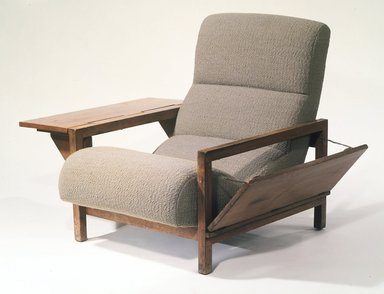"Russel Wright (American, 1904-1976). <em>Armchair ""Statton,""</em> Designed 1950; Manufactured ca. 1951. Sycamore, upholstery, 32 1/2 x 29 (width with leaves closed) x 35 1/2 in. (82.6 x 73.7 x 90.2 cm). Brooklyn Museum, Gift of the artist, 76.99.2a-b. Creative Commons-BY (Photo: Brooklyn Museum, 76.99.2a-b_transp2632.jpg)"
