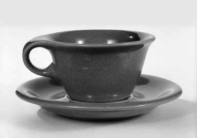 Russel Wright (American, 1904-1976). <em>Cup and Saucer</em>, ca, 1945. Glazed china, 2 1/4 × 6 3/8 in. (5.7 × 16.2 cm). Brooklyn Museum, Gift of Russel Wright, 76.99.35a-b. Creative Commons-BY (Photo: Brooklyn Museum, 76.99.35a-b_bw.jpg)