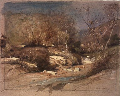 Samuel Colman (American, 1832-1920). <em>Late November in a Santa Barbara Cañon, California</em>, 1888. Transparent and opaque watercolor with touches of pastel on rose-tinted, moderately thick, moderated textured wove paper, 12 x 15 in. (30.5 x 38.1 cm). Brooklyn Museum, Dick S. Ramsay Fund, 77.102.2 (Photo: Brooklyn Museum, 77.102.2.jpg)