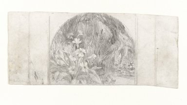 Aaron Draper Shattuck (American, 1832-1928). <em>Plants By a Stream</em>, n.d. Graphite on off-white, moderately thick, smooth wove paper, Sheet (irregular): 3 3/8 x 7 3/4 in. (8.6 x 19.7 cm). Brooklyn Museum, Gift of Mr. and Mrs. Eugene Emigh, 77.106. © artist or artist's estate (Photo: Brooklyn Museum, 77.106_PS4.jpg)