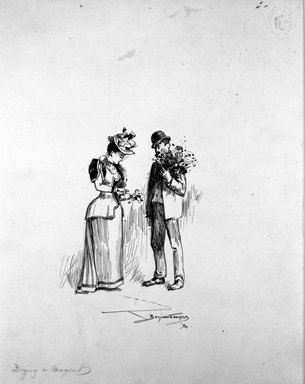 "Benjamin Osro Eggleston (American, 1867-1937). <em>""Buying a Bouquet,""</em> 1894. Pen and ink on paper, sheet: 9 3/8 x 7 1/2 in. (23.8 x 19.1 cm). Brooklyn Museum, Gift of Dr. Clark S. Marlor, 77.109.6 (Photo: Brooklyn Museum, 77.109.6_bw.jpg)"