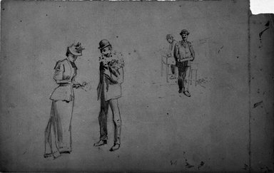 Benjamin Osro Eggleston (American, 1867-1937). <em>[Untitled] (Preliminary sketch for 'Buying a Bouquet')</em>, ca. 1894. Graphite on paper, sheet: 7 1/2 x 11 15/16 in. (19.1 x 30.3 cm). Brooklyn Museum, Gift of Dr. Clark S. Marlor, 77.109.7 (Photo: Brooklyn Museum, 77.109.7_bw.jpg)