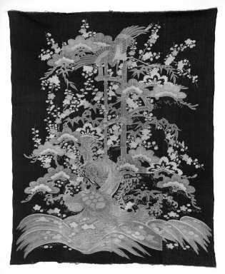 <em>Futongawa (Quilt Cover)</em>, 19th century. Cotton, Indigo-dyed background, 65 x 53 in. (165.1 x 134.6 cm). Brooklyn Museum, Designated Purchase Fund, 77.10. Creative Commons-BY (Photo: Brooklyn Museum, 77.10_bw.jpg)
