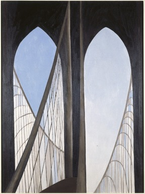 Georgia O'Keeffe (American, 1887-1986). <em>Brooklyn Bridge</em>, 1949. Oil on masonite, 47 15/16 x 35 7/8in. (121.8 x 91.1cm). Brooklyn Museum, Bequest of Mary Childs Draper, 77.11 (Photo: Brooklyn Museum, 77.11_SL1.jpg)
