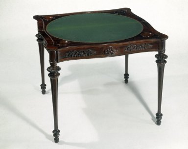 Alexander Roux (American, born France, 1813-1886 (active New York, 1836-1880)). <em>Card Table</em>, ca. 1850-1857. Rosewood, birch, 35 5/8 x 35 1/4 in. (90.5 x 89.5 cm) closed. Brooklyn Museum, H. Randolph Lever Fund, 77.127. Creative Commons-BY (Photo: Brooklyn Museum, 77.127_IMLS_SL2.jpg)