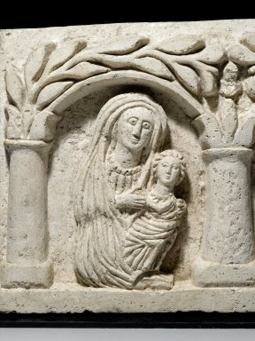 <em>The Holy Family(?)</em>, 20th century (probably). Nummulitic limestone, With mount: 12 x 21 1/16 x 4 in. (30.5 x 53.5 x 10.2 cm). Brooklyn Museum, Gift of Mrs. Jacob M. Kaplan, 77.129. Creative Commons-BY (Photo: , 77.129_detail1_PS1.jpg)