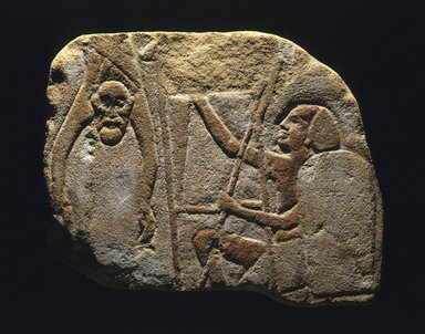 <em>Relief Representation of a Battle Scene</em>, ca. 1336-1327 B.C.E. Sandstone, pigment, 8 11/16 x 10 1/4 x 11/16 in. (22 x 26 x 1.8 cm). Brooklyn Museum, Charles Edwin Wilbour Fund, 77.130. Creative Commons-BY (Photo: Brooklyn Museum, 77.130_SL1.jpg)