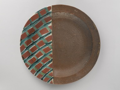 Kitaoji Rosanjin (Japanese, 1883-1959). <em>Plate</em>, ca. 1950. Stoneware with overglaze enamel, 15/16 x 8 1/2 in. (2.4 x 21.6 cm). Brooklyn Museum, Gift of Dr. Hugo Munsterberg, 77.136. Creative Commons-BY (Photo: Brooklyn Museum, 77.136_PS9.jpg)