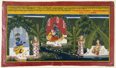 Indian. <em>Quivering Earrings, Page from a Gita Govinda Series</em>, 1714. Opaque watercolor and gold on paper, sheet: 10 x 17 in.  (25.4 x 43.2 cm). Brooklyn Museum, Anonymous gift, 77.138 (Photo: Brooklyn Museum, 77.138_IMLS_SL2.jpg)