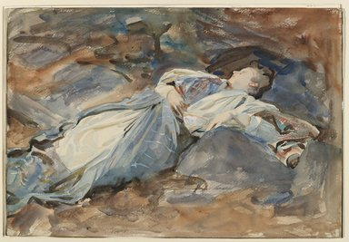 John Singer Sargent (American, born Italy, 1856-1925). <em>Violet Sleeping</em>, ca. 1907-1908. Translucent and opaque watercolor and graphite, with graphite underdrawing, 14 11/16 x 21 5/16in. (37.3 x 54.1cm). Brooklyn Museum, Gift of Mrs. Lawrence B. Dunham, 77.145 (Photo: Brooklyn Museum, 77.145_PS6.jpg)