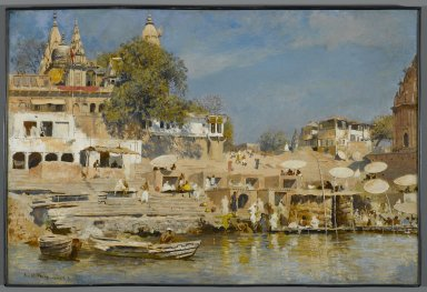 Edwin Lord Weeks (American, 1849-1903). <em>Temples and Bathing Ghat at Benares</em>, ca. 1883-1885. Oil on canvas, 19 15/16 x 29 15/16 in. (50.6 x 76 cm). Brooklyn Museum, Gift of Walter Prosser, 77.150.1 (Photo: Brooklyn Museum, 77.150.1_PS1.jpg)