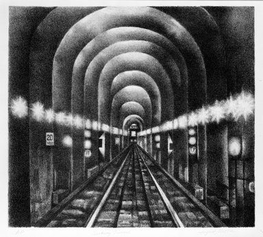 August Mosca (American, born Italy, 1909-2002). <em>Subway Tunnel</em>, n.d. Lithograph on paper, sheet: 13 7/8 x 15 1/2 in. (35.2 x 39.4 cm). Brooklyn Museum, Gift of Dr. and Mrs. Monroe Kornfeld, 77.156.1. © artist or artist's estate (Photo: Brooklyn Museum, 77.156.1_bw.jpg)