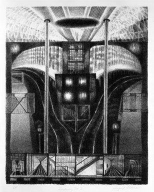 August Mosca (American, born Italy, 1909-2002). <em>Subway No. 3</em>, n.d. Lithograph on paper, sheet: 17 x 13 3/4 in. (43.2 x 34.9 cm). Brooklyn Museum, Gift of Dr. and Mrs. Monroe Kornfeld, 77.156.2. © artist or artist's estate (Photo: Brooklyn Museum, 77.156.2_bw.jpg)