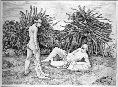 August Mosca (American, born Italy, 1909-2002). <em>Untitled (2 Nude Woman in a Landscape)</em>, 1977. Pen and ink on paper, 22 1/2 x 31 in. (57.2 x 78.7 cm). Brooklyn Museum, Gift of Dr. and Mrs. Monroe Kornfeld, 77.156.4. © artist or artist's estate (Photo: Brooklyn Museum, 77.156.4_bw.jpg)