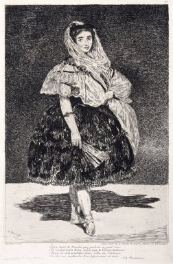 Édouard Manet (French, 1832-1883). <em>Lola de Valence</em>, 1862-1863. Etching and aquatint on paper, Sheet: 21 x 14 3/8 in. (53.3 x 36.5 cm). Brooklyn Museum, Designated Purchase Fund, 77.164 (Photo: Brooklyn Museum, 77.164_reference_SL1.jpg)