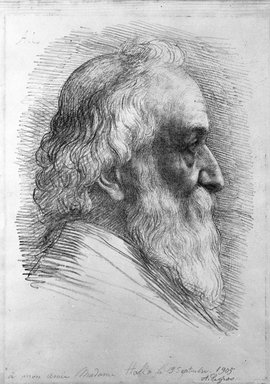 Alphonse Legros (French, 1837-1911). <em>Self-Portrait</em>, 1905. Lithograph on laid paper, 10 3/4 x 10 1/8 in. (27.3 x 25.7 cm). Brooklyn Museum, Designated Purchase Fund, 77.167.6 (Photo: Brooklyn Museum, 77.167.6_bw.jpg)