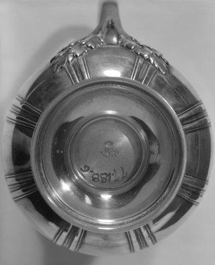 Gustave Keller. <em>Cream Pitcher</em>, ca. 1900. Silver, 5 7/8 x 2 3/8 x 2 3/8 in. (14.9 x 6 x 6 cm). Brooklyn Museum, Gift of Margaret Liebman Berger and Charles J. Liebman, Jr. in memory of Aline and Charles J. Liebman, 77.188.6. Creative Commons-BY (Photo: Brooklyn Museum, 77.188.6_bottom_bw.jpg)
