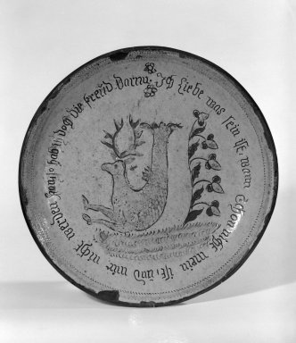 American. <em>Pie Plate</em>, ca. 1830. Earthenware, 1 3/8 x 9 1/2 in. (3.5 x 24.1 cm). Brooklyn Museum, Purchased with funds given by Christine V. Ness, H. Randolph Lever Fund, Alfred T. and Caroline S. Zoebisch Fund, and other funds, 77.191.2. Creative Commons-BY (Photo: Brooklyn Museum, 77.191.2_bw.jpg)