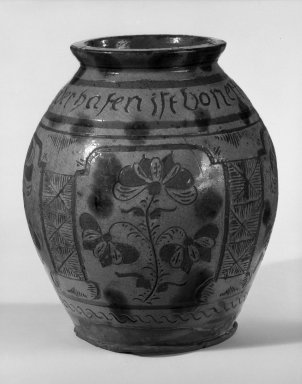 American. <em>Jar</em>, ca. 1788. Earthenware, 9 1/4 x 4 3/4 in. (23.5 x 12.1 cm). Brooklyn Museum, Purchased with funds given by Christine V. Ness, H. Randolph Lever Fund, Alfred T. and Caroline S. Zoebisch Fund, and other funds, 77.191.5. Creative Commons-BY (Photo: Brooklyn Museum, 77.191.5_bw.jpg)
