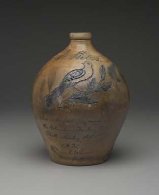Henry Stockwell for William E. Warner at the Columbia Pottery. <em>Jug</em>, ca. 1831. Stoneware, 11 1/8 x 8 5/8 x 8 3/4 in. (28.3 x 21.9 x 22.2 cm). Brooklyn Museum, Purchased with funds given by Christine V. Ness, H. Randolph Lever Fund, Alfred T. and Caroline S. Zoebisch Fund, and other funds, 77.191.9. Creative Commons-BY (Photo: Brooklyn Museum, 77.191.9_view1_PS2.jpg)