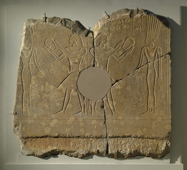 <em>Relief of King Sobekhotep III</em>, ca. 1744-1741 B.C.E. Quartzite, 63 1/2 x 66 x 4 in., 765 lb. (161.3 x 167.6 x 10.2 cm, 347kg). Brooklyn Museum, Charles Edwin Wilbour Fund, 77.194a-c. Creative Commons-BY (Photo: Brooklyn Museum, 77.194_SL1.jpg)