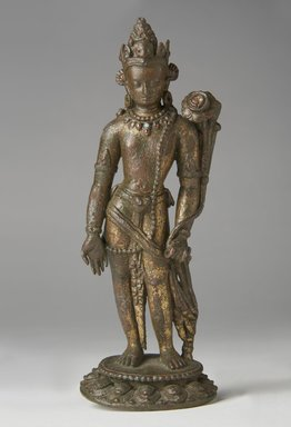 <em>Standing Padmapani</em>, 12th-13th century. Bronze with traces of gold and inlay of semiprecious stones, 8 1/4 × 2 1/2 × 1 7/8 in. (21 × 6.4 × 4.8 cm). Brooklyn Museum, Gift of Georgia and Michael de Havenon, 77.198. Creative Commons-BY (Photo: Brooklyn Museum, 77.198_front_PS11.jpg)
