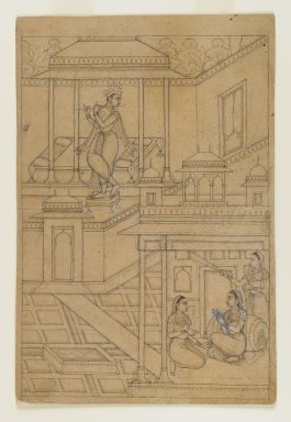 Indian. <em>Krishna Serenades Radha</em>, ca. 1650. Ink on paper, sheet: 9 1/16 x 6 in.  (23.0 x 15.2 cm). Brooklyn Museum, Gift of Mr. and Mrs. H. Peter Findlay, 77.201.2 (Photo: Brooklyn Museum, 77.201.2_IMLS_PS4.jpg)