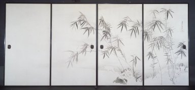 Nagasawa Rosetsu (Japanese, 1754-1799). <em>Puppies and Bamboo in Moonlight</em>, early 1790's. Pair of two-panel sliding doors, ink and light color on paper, Each panel: 67 1/2 x 37 1/8 in. (171.5 x 94.3 cm). Brooklyn Museum, Gift of Mr. and Mrs. Patrick Gilmartin and Mr. and Mrs. Edward Greenberg, 77.202a-b. Creative Commons-BY (Photo: Brooklyn Museum, 77.202a-b.jpg)